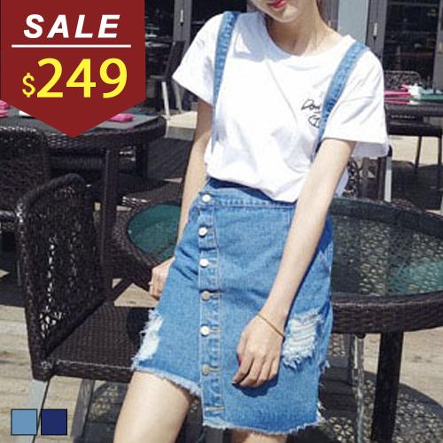 裙子 斜排扣刷破不對稱牛仔吊帶裙 小豬兒 MiNi Jule 【CCA61046140】