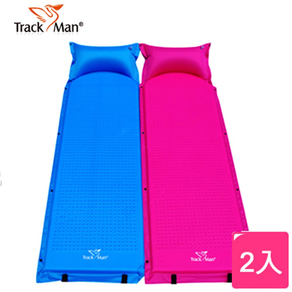 【悅.生活】Trackman_單人帶枕式露營自動充氣床墊-厚3cm(2入)