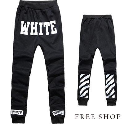 棉褲 Free Shop【QR30232】歐美潮流WHITE斜格雙面印花抽繩彈性彈力哈倫褲飛鼠褲棉褲長褲 黑色