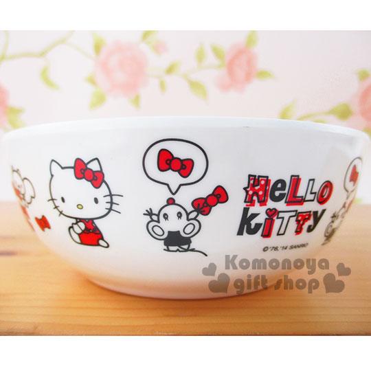 〔小禮堂〕Hello Kitty 美耐皿碗《紅.朋友.蝴蝶結.多動作.320ml》
