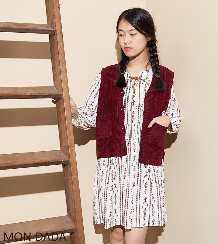 【Mondada】6050.圖騰皮革綁繩印花洋裝.【日系】【圖騰】【洋裝】