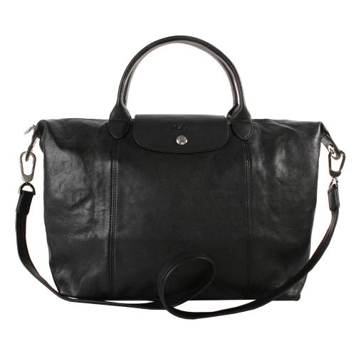 LONGCHAMP 小羊皮折疊包 黑色 M 中 Le Pliage Cuir 法國 精品 《ibeauty愛美麗》
