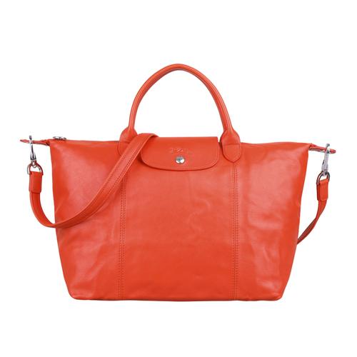 LONGCHAMP 小羊皮折疊包 橘紅色 M 中 Le Pliage Cuir 法國 精品 《ibeauty愛美麗》