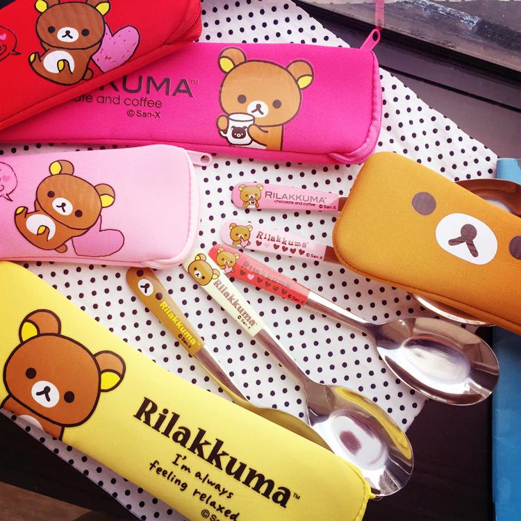 PGS7 (現貨+預購) 日本卡通系列商品 - 拉拉熊 環保 餐具組 隨身 餐具 筷子 湯匙 拉拉雄 鬆弛熊 懶懶熊