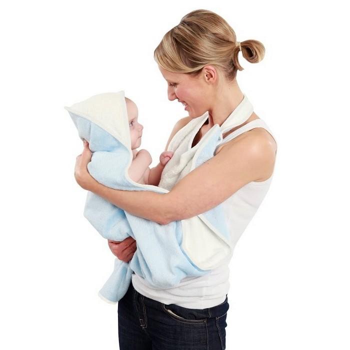 【淘氣寶寶】英國 Cuddledry 有機棉長型圍裙嬰兒浴巾 粉藍色【總代理公司貨】