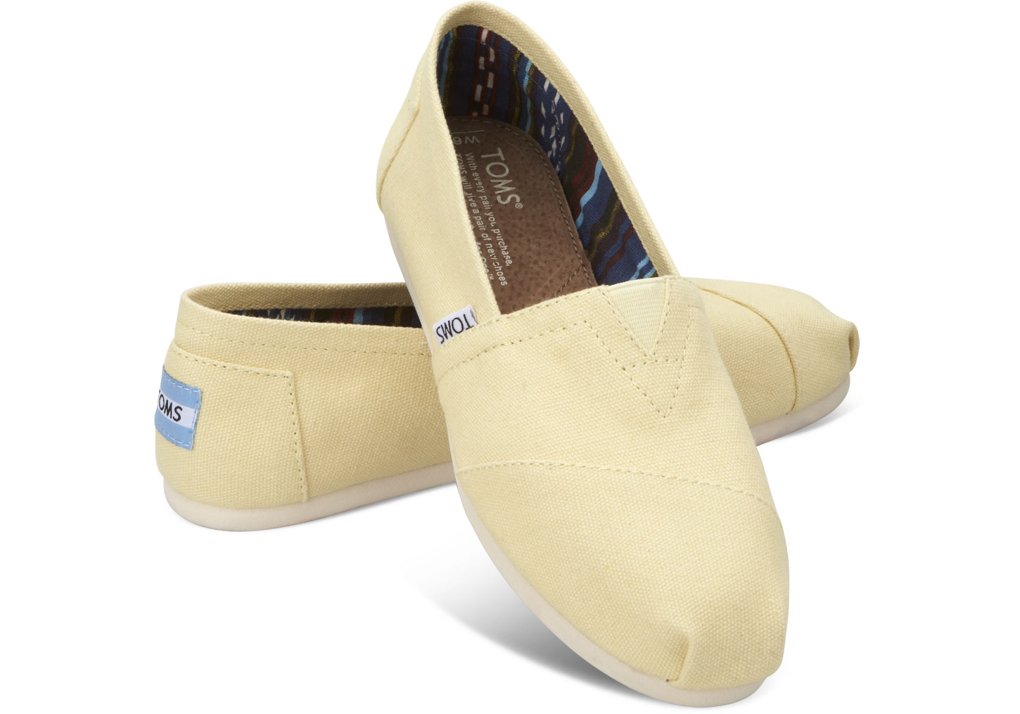 【TOMS】淡黃色經典帆布休閒鞋  Yellow Women's Canvas Classics