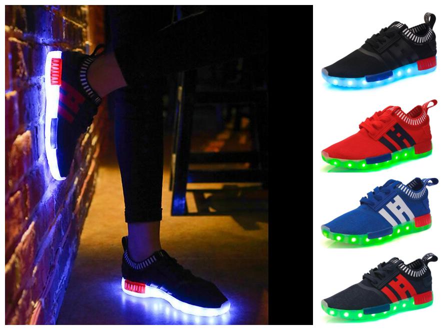 led發光鞋usb充電椰子鞋燈鞋夜光慢跑鞋情侶鞋親子鞋
