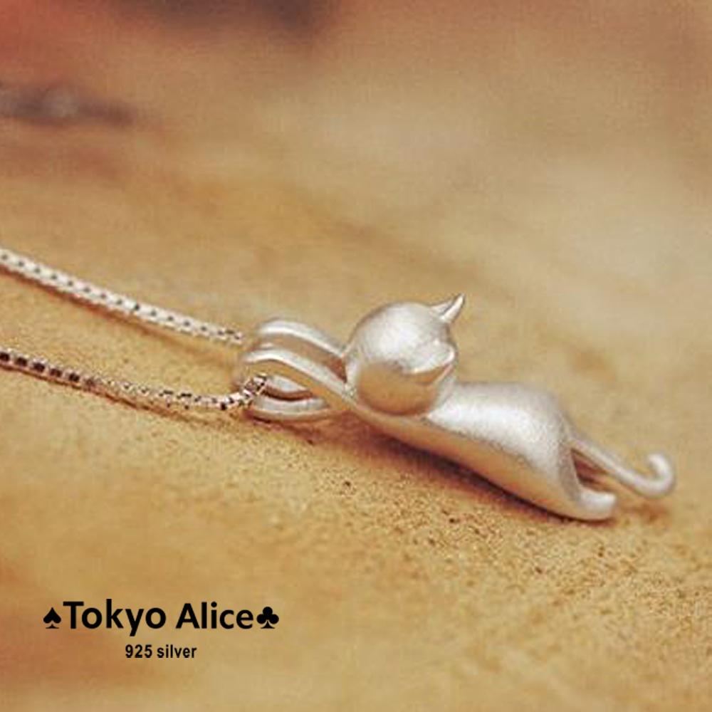 Tokyo Alice 925純銀立體貓咪項鍊,項鏈立體飾品首飾銀飾甜美貓奴( s0000003)