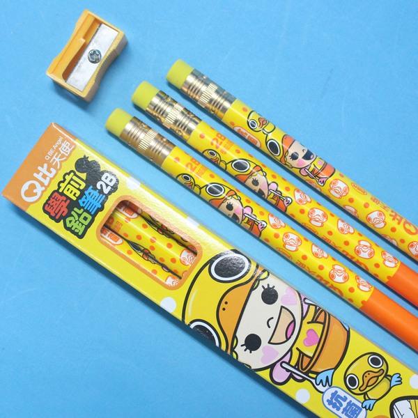 利百代學齡前鉛筆 CB-207 Q比天使皮頭抗菌大三角形鉛筆MIT製/一小盒3支入{定50}