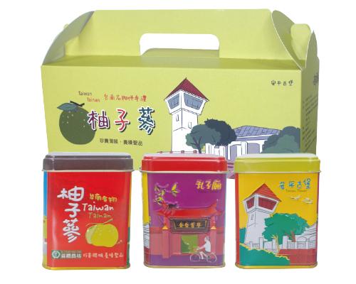 麻豆大白柚子蔘古蹟禮盒,孔子廟 / 赤崁樓 / 府城古蹟 / 精美浮雕鐵盒80g*3入