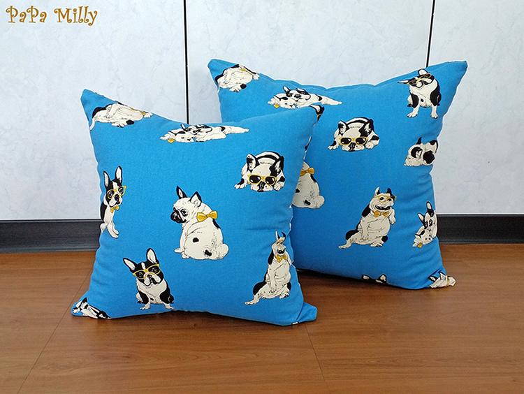 米粒爸爸@50x50藍色鬥牛犬抱枕套 靠枕套 亞麻 任何尺寸皆可訂做