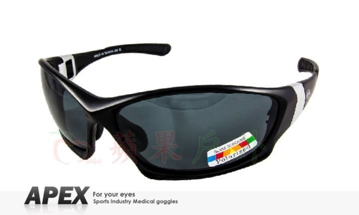 【【蘋果戶外】】APEX J88 黑 台製 polarized 抗UV400 寶麗來鏡片 近視運動眼鏡 太陽眼鏡 偏光鏡 可加購近視鏡框 附原廠盒、擦拭布(袋)