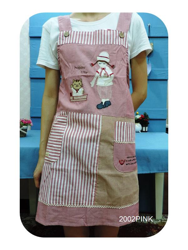 ◤彩虹森林◥《2002PINK》可愛廚師與喵咪 日式拼布圍裙 日式圍裙 主婦家居 幼稚園工作圍裙 工作裙
