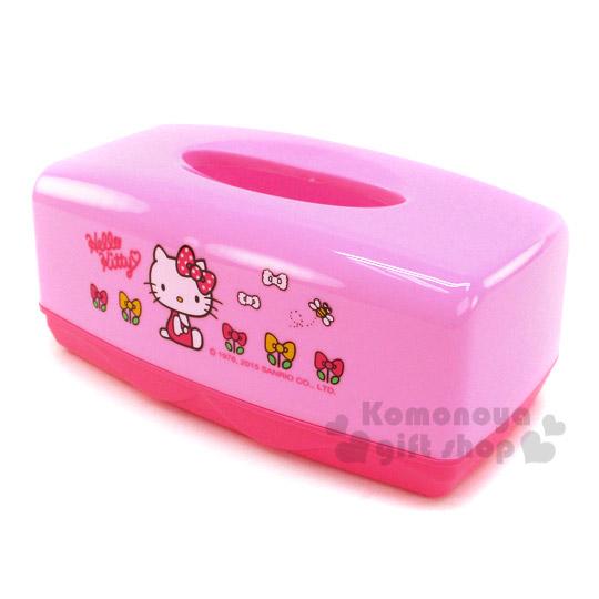 〔小禮堂〕Hello Kitty 塑膠面紙盒~粉.側坐.蝴蝶結.蝴蝶結花~