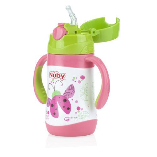 『121婦嬰用品』Nuby不鏽鋼真空學習杯-瓢蟲(細吸管) 280ml