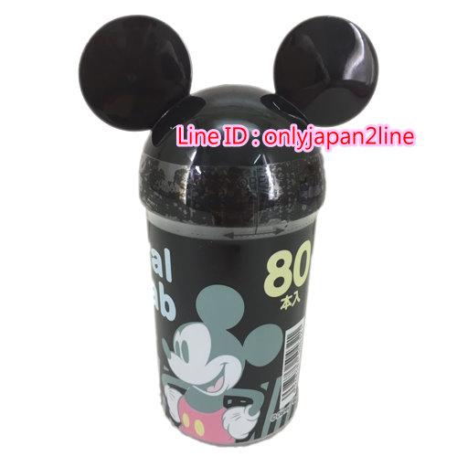 【真愛日本】16100700006棉花棒80入-頭型米奇黑     迪士尼 米老鼠米奇 米妮  棉花棒  清潔  居家