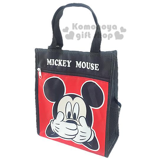 〔小禮堂〕迪士尼 米奇 直式手提便當袋《黑.手遮嘴.大臉》輕巧好攜帶