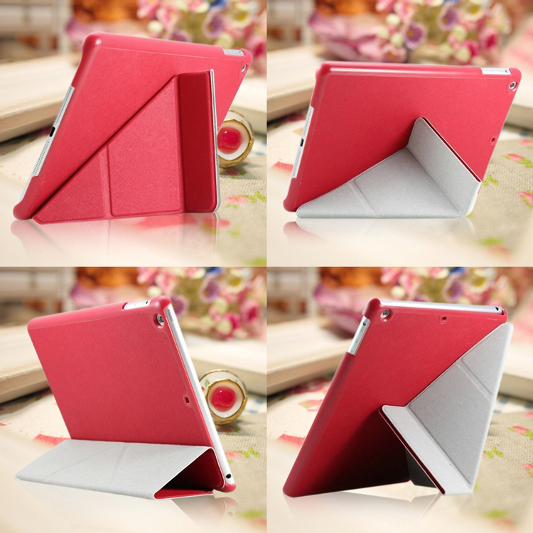 Ultimate- iPad air 經典橫格紋變形金剛皮套 超薄設計 多角度翻折 蘋果平板變型皮套 多折支架皮套