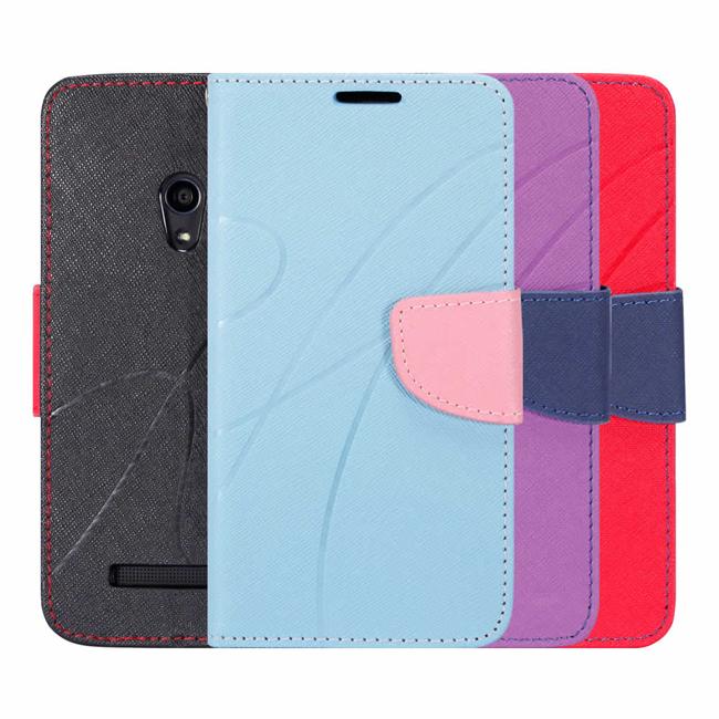 Ultimate- ASUS Zenfone5 新潮美紋撞色可立式皮套 手機支架皮套 可立式保護套 卡片收納手機包
