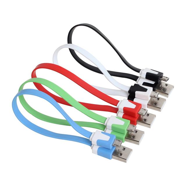 隨機出貨- Micro USB 20cm扁條傳輸充電線 麵條傳輸線 HTC/SAMSUNG/SONY/LG 紅米 小米