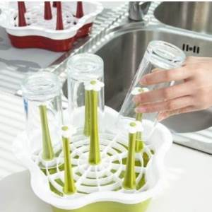 美麗大街【BF280】創意塑料瀝水杯架 廚房置物架 玻璃水杯收納架 掛架 杯子架