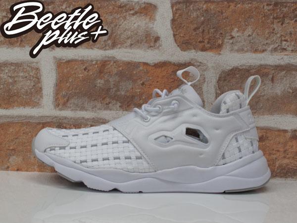 女生 BEETLE REEBOK FURYLITE NEW WOVEN 全白 編織 襪套 慢跑鞋 V70797