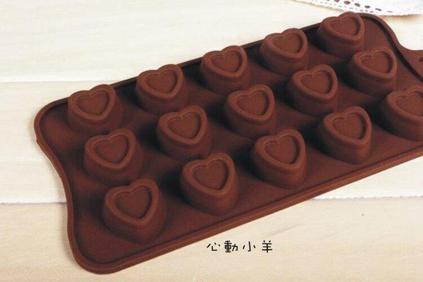 心動小羊^^耐高溫愛心矽膠巧克力模、迷你手工皂蠟燭果凍布丁模製冰格