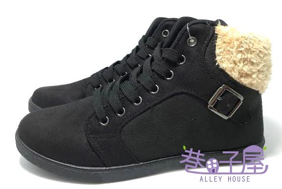 【巷子屋】Limitless利米堤司 女款韓風毛毛環扣高統運動休閒鞋 [6214] 黑 MIT台灣製造 超值價$198