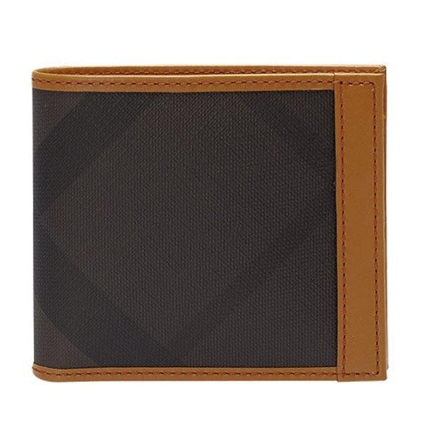 【BURBERRY】黑灰格滾黃皮革邊二折短夾 3880158