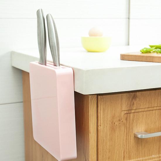 ♚MY COLOR♚多功能隱形刀架 廚房 收納 剪刀 工具 儲存 菜刀 水果刀 黏貼 通風 瀝乾【W53】