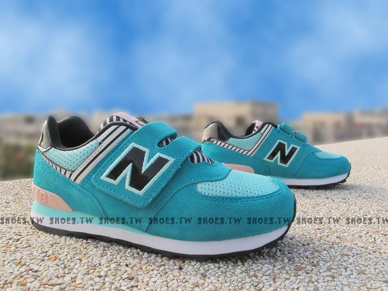 [24cm]《超值6折》Shoestw【KV574LXY】NEW BALANCE 574 復古慢跑鞋 童鞋 中童 薄荷綠斑馬