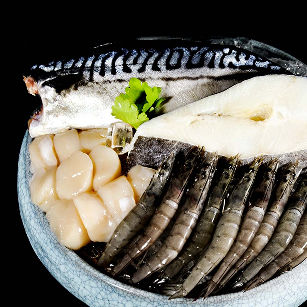 【IT'S SEAFOOD】★好貴氣尊貴禮盒★(內含古早蝦/北海道干貝/真鱈魚/挪威鯖魚)