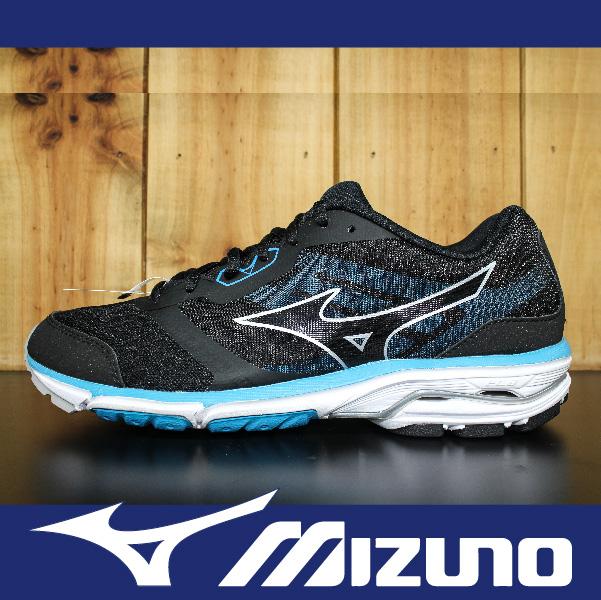 萬特戶外運動-MIZUNO美津濃 J1GC162303 WAVE UNITUS DC2 男款 輕量慢跑鞋 超寬楦 黑/藍綠