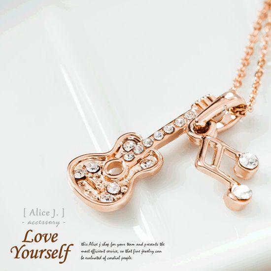 韓系風玫瑰金 時尚之音吉他鑲鑽項鍊【alice j嚴選飾品】