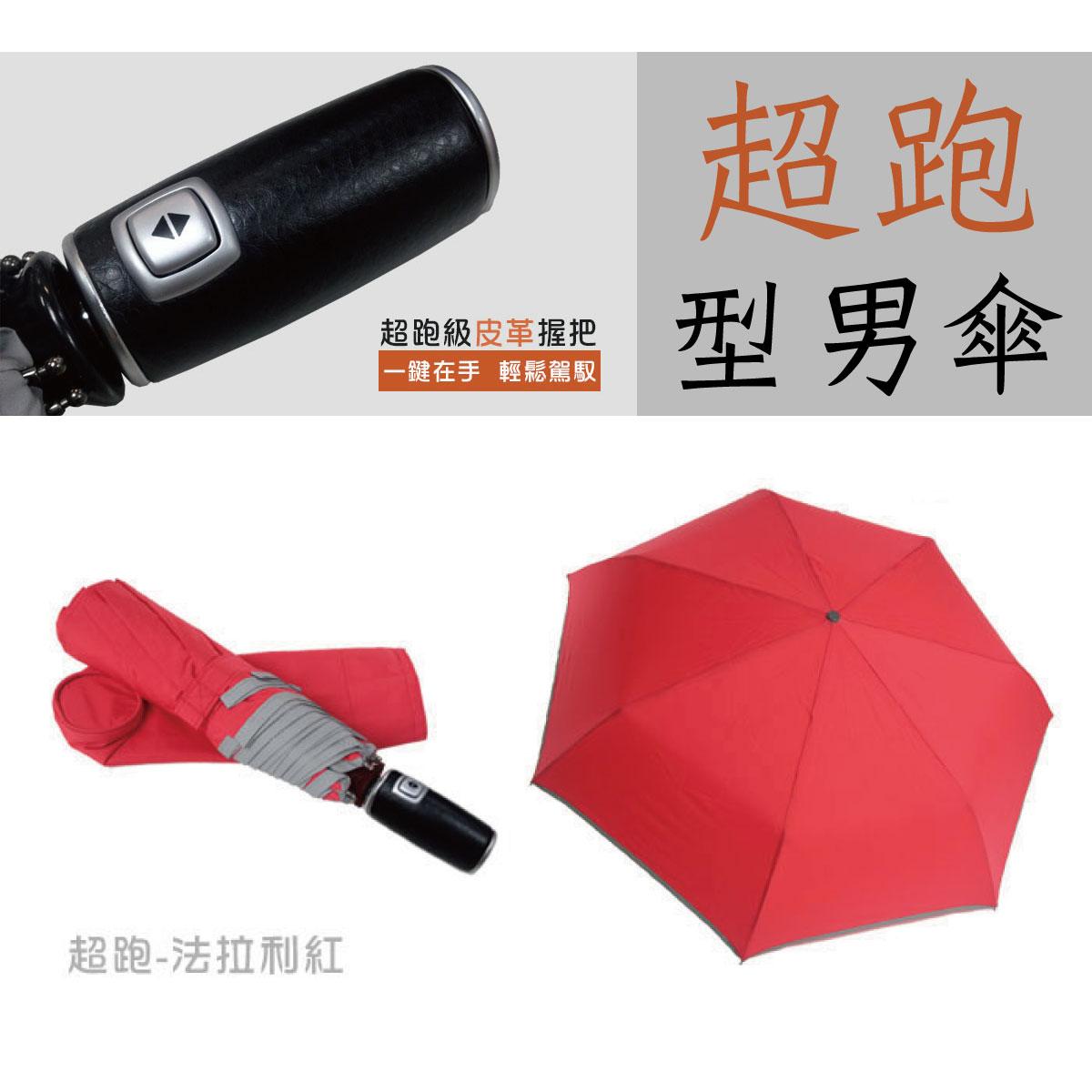 【iumbrella】超跑型男自動傘 皮革握把 法拉利紅