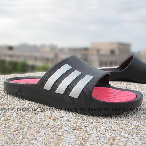 Shoestw【S82841】ADIDAS COMFORT SLIDE 拖鞋 軟Q底 黑桃紅 女生尺寸