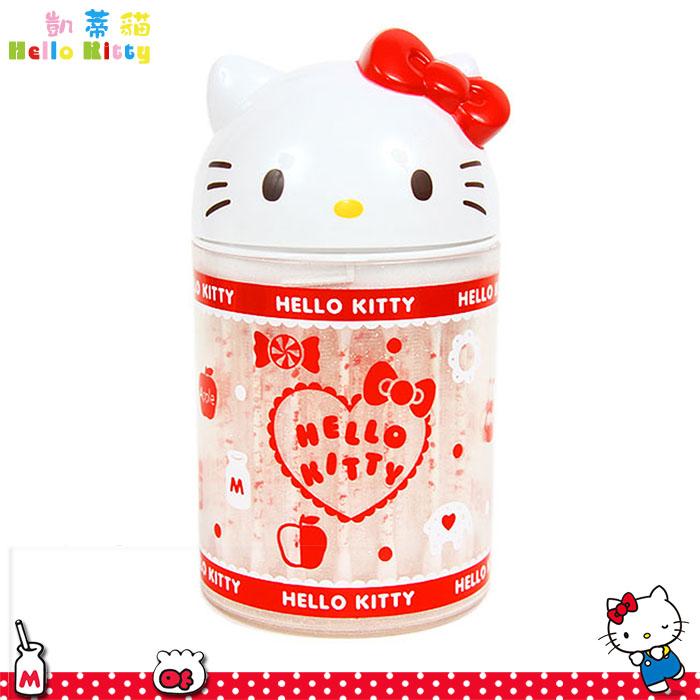 大田倉 日本進口正版Hello Kitty 凱蒂貓 造型棉花棒 棉花棒 棉花棒+罐 收納桶 947784