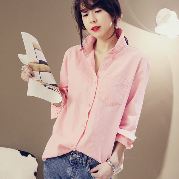 PS Mall 韓版氣質素面純色翻領長袖襯衣 百搭襯衫【T1594】