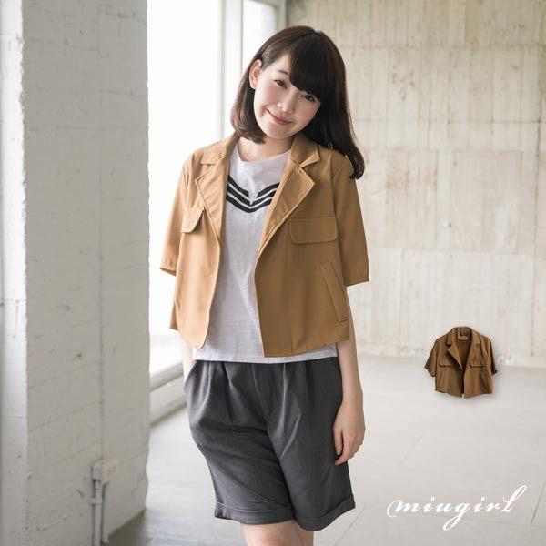 外套-假口袋短版西裝外套 MiuGirl
