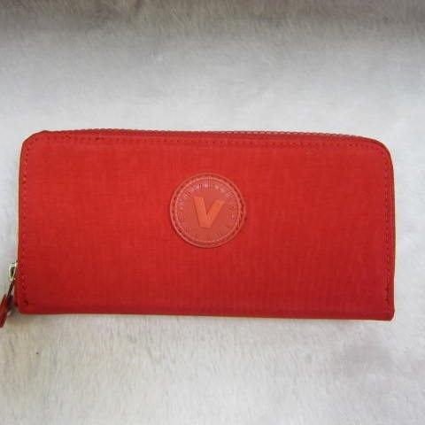 ~雪黛屋~Velamtino 長型女用休閒皮夾進口專櫃防水尼龍布材質單拉鍊包覆型主袋設計A136-101紅