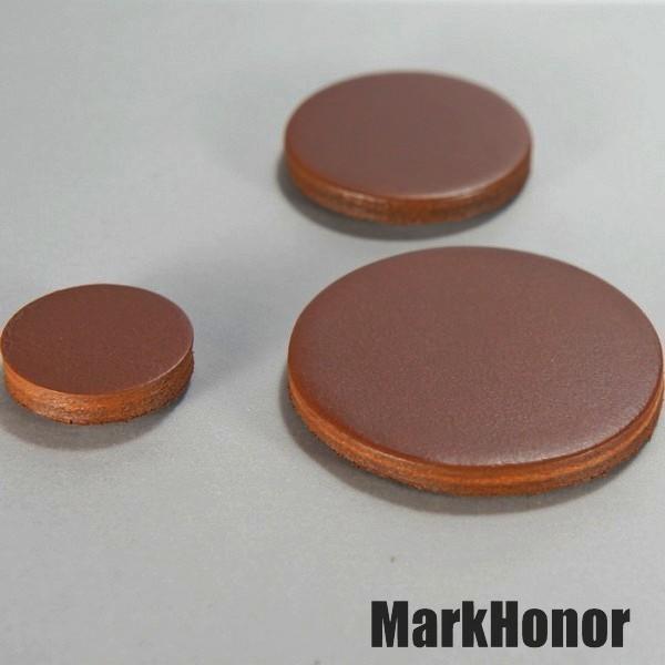 磁鐵 真皮皮革 咖啡 圓直徑4公分-Mark Honor