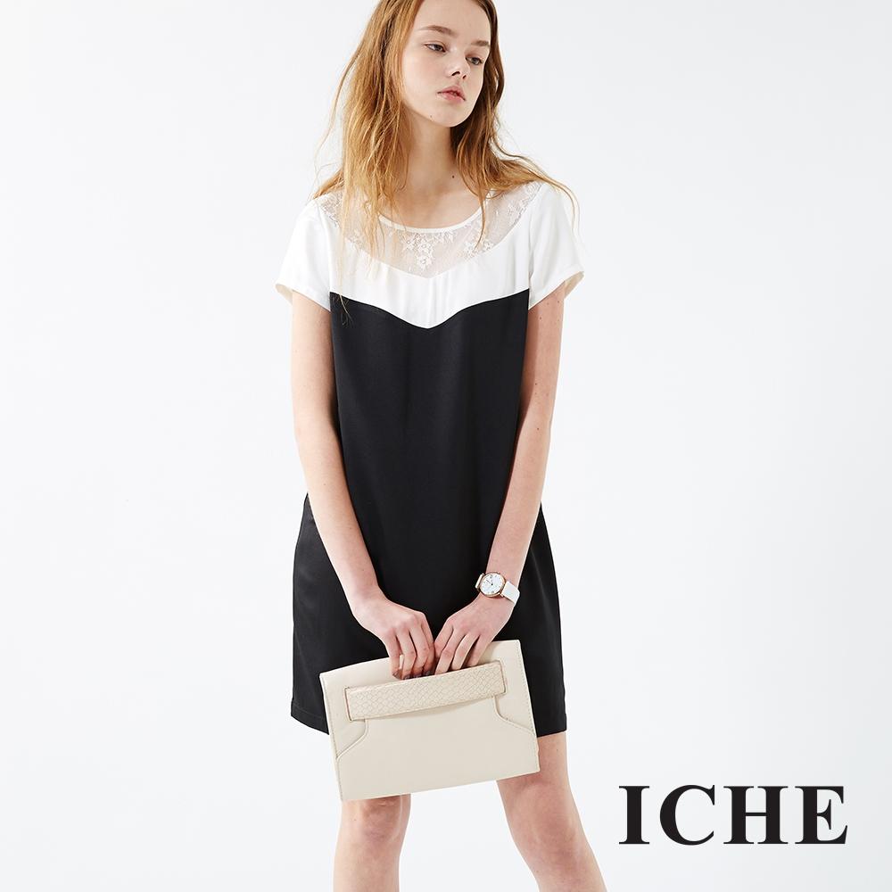 ICHE 衣哲 黑白撞色馬甲剪裁拼接洋裝