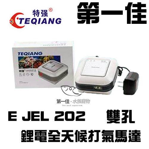 [第一佳 水族寵物] 中國TEQIANG特強鋰電全天候打氣馬達E JHL 202雙孔打氣機不斷電空氣幫浦持續供氣免運費