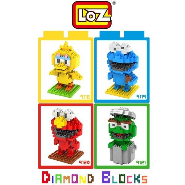 LOZ 鑽石積木 9118-9121 芝麻街系列/益智/玩具/趣味/腦力激盪/迷你/積木/智力/公仔【馬尼行動通訊】