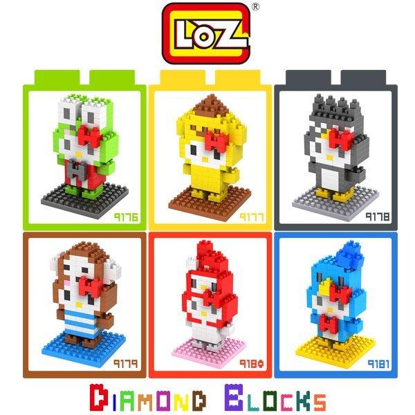 LOZ 鑽石積木 9176-9181 KITTY卡通裝系列/益智玩具/趣味/腦力激盪/玩具/迷你積木【馬尼行動通訊】