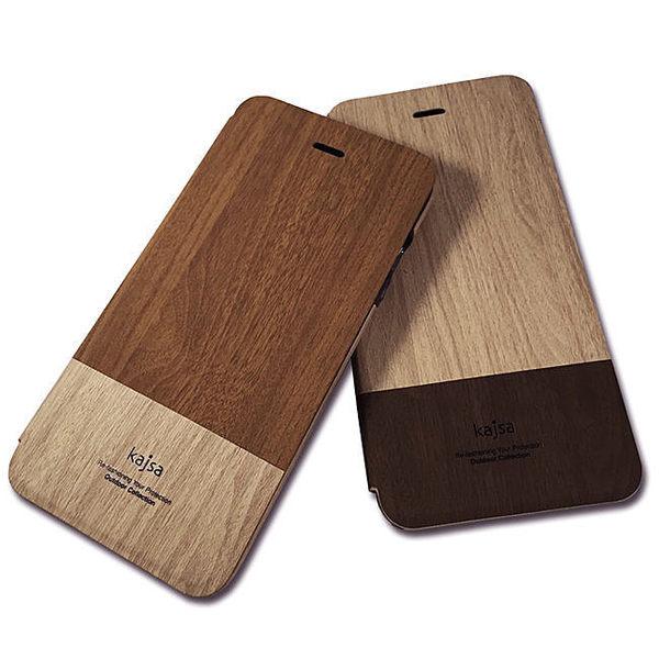 【馬尼行動通訊】kajsa時尚木紋側翻可插卡皮套/iphone 6 plus 5.5/手機皮套/手機殼/保護套/側掀皮套