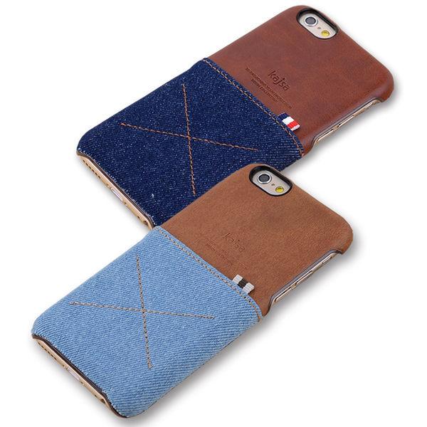 kajsa iphone 6 plus 清新單寧拼接皮革可插卡式保護殼 iphone 6 5.5 背蓋/手機殼/手機套【馬尼行動通訊】