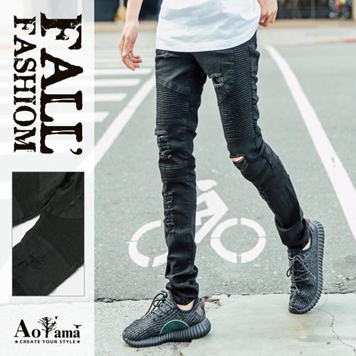牛仔褲 歐美時尚 獨家破壞黑單寧機車褲【K1802】 青山AOYAMA