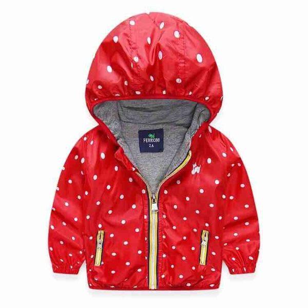 EMMA商城~兒童紅色點點連帽輕量風衣薄外套