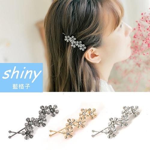 【DJB2699】shiny藍格子-甜美金屬花朵葉子髮夾